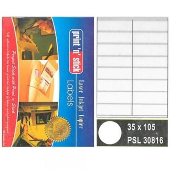 Print n Stick A4 Laser Inkjet Label Stickers 16pcs - 35mm x 105mm, 100sheets (Item No: R01-13) A1R3B192