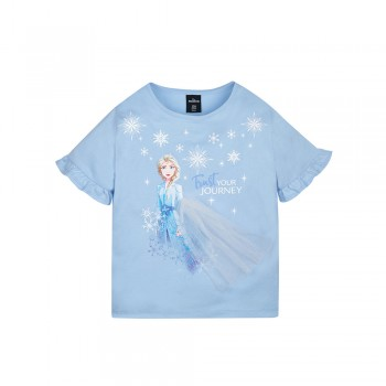 Frozen 2 Series Elsa Snowflake Kids Tee - (Blue, Size 140)
