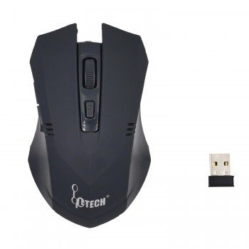 L-TECH Wireless Mouse Model 100 - BLACK - 2.4GHz Wireless, Operating Distance Up To 10m, 6-Key Optical Mouse 6D, 1600 DPI, Compact Ergonomic Design - WM-100BK BLACK